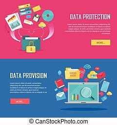 Un conjunto de datos de protección y pancarta web de provisiones