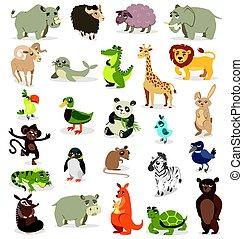 Un conjunto de diferentes animales en un fondo blanco. Ilustración de vectores