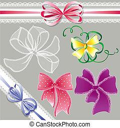 Un conjunto de diferentes colores lazos de encaje para el diseño de las fiestas