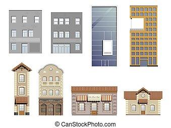 Un conjunto de diferentes fachadas