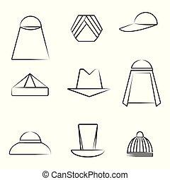Un conjunto de diferentes sombreros al estilo del arte