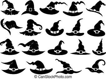 Un conjunto de diferentes sombreros de bruja