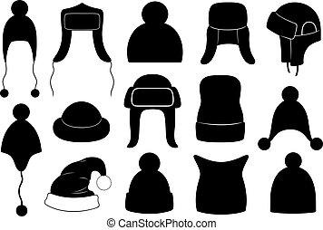 Un conjunto de diferentes sombreros de invierno