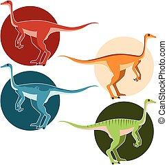 Un conjunto de dinosaurios de avestruz