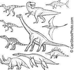 Un conjunto de dinosaurios diferentes