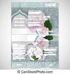 Un conjunto de diseño de folletos tri-pliegados en ambos lados con elementos del mundo. Flores rosas sobre fondo azul lineal, patrón de vector floral