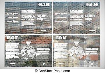 Un conjunto de diseño de folletos tri-pliegados en ambos lados con elementos del mundo. Paisaje de la ciudad. Trasfondos multicolores abstractos. Patrones geométricos naturales. Estilo triangular y hexagonal