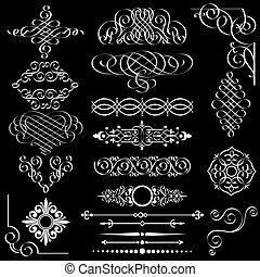 Un conjunto de elementos antiguos de diseño