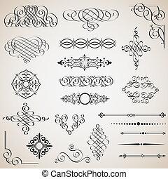 Un conjunto de elementos de diseño caligráfico