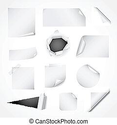 Un conjunto de elementos de diseño de papel blanco
