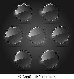 Un conjunto de elementos de diseño de vidrio