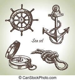 Un conjunto de elementos de diseño náutico. Manos dibujadas ilustraciones