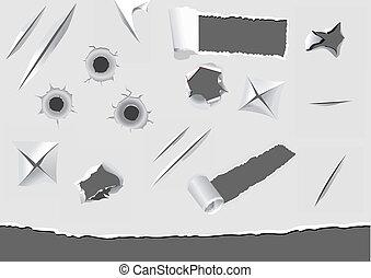 Un conjunto de elementos de papel rotos y dañados