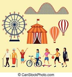 Un conjunto de elementos del parque de atracciones
