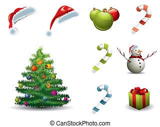 Un conjunto de elementos navideños aislados