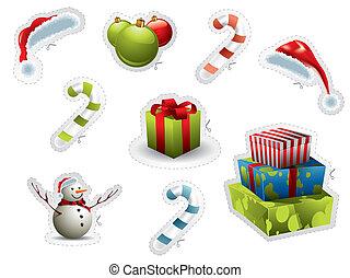 Un conjunto de elementos navideños