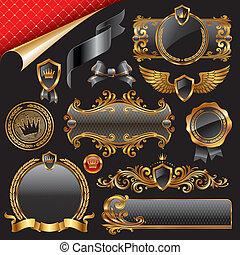 Un conjunto de elementos reales de diseño de oro