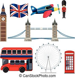 Un conjunto de elementos turísticos de Inglaterra
