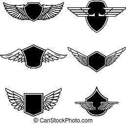 Un conjunto de emblemas con alas aisladas en el fondo blanco. Diseños para logo, etiqueta, emblema, signo, placa. Ilustración de vectores