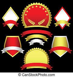 Un conjunto de emblemas y estandartes.