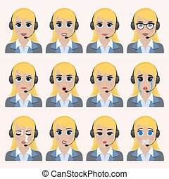 Un conjunto de emoticonos de operadores lindos.