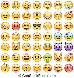 Un conjunto de emoticonos. Un conjunto de emoji. Sonrían íconos