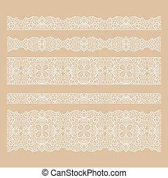 Un conjunto de encajes sin costura bordea con fondo transparente