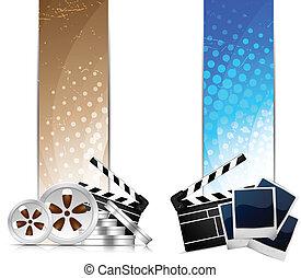 Un conjunto de estandartes con elemento cinematográfico