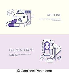 Un conjunto de estandartes de medicina en línea, el concepto de la plantilla de fondo con espacio copiado