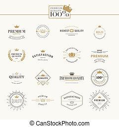 Un conjunto de etiquetas de calidad premium