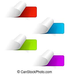 Un conjunto de etiquetas de etiqueta multicolor. iconos Web