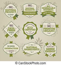 Un conjunto de etiquetas naturales