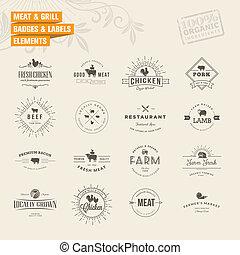 Un conjunto de etiquetas para carne y parrilla