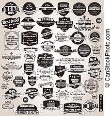 Un conjunto de etiquetas retro antiguas