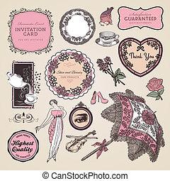 Un conjunto de etiquetas y elementos clásicos