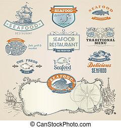 Un conjunto de etiquetas y elementos de marisco