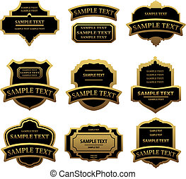 Un conjunto de etiquetas y marcos dorados