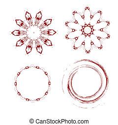 Un conjunto de formas abstractas modernas finas y rojas