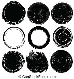 Un conjunto de formas grunge negras o sellos