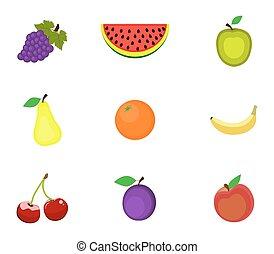 Un conjunto de frutas en un fondo blanco
