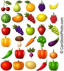 Un conjunto de frutas y vegetales aislados en el fondo blanco