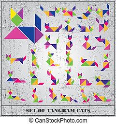 Un conjunto de gatos grunge tangram