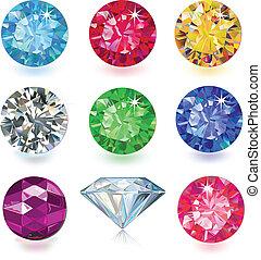 Un conjunto de gemas de colores