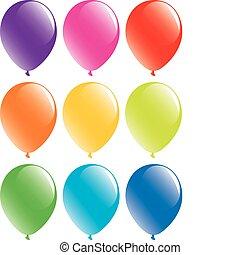 Un conjunto de globos coloridos