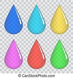 Un conjunto de gotas de color transparente.