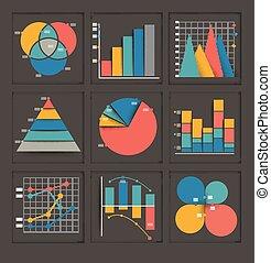 Un conjunto de gráficos de negocios de color