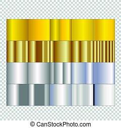 Un conjunto de gradientes de plata y oro en el fondo aislado.
