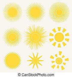 Un conjunto de iconos amarillos de color naranja en el fondo blanco. Ilustración de vectores de dibujos animados de un amanecer. Logo de Sunset Graphic para niños.
