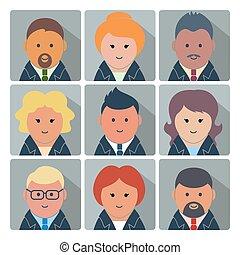 Un conjunto de iconos avatares con gente de negocios