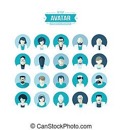 Un conjunto de iconos avatares de diseño plano